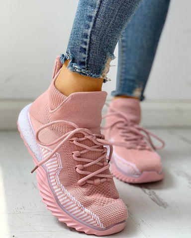 Net Surface Colorblock Breathable Lace-Up Casual Sneakers Pink / 35