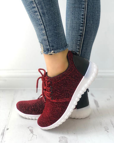 Glittering Net Surface Breathable Sneakers Red / 35