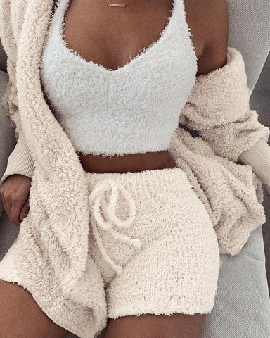 Fluffy Hooded Open Front Teddy Coat & Short Sets Beige / S Suit