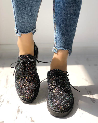 Glittering Sequined Round Toe Lace-Up Sneakers Black / 36