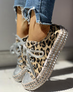 Fashion Rivet Leopard Round Toe Casual Shoes / 35 Sneakers
