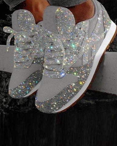 Solid Lace-Up Glitter Sneakers Gray / 35