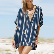 Loose Short Sleeve Stripes Printed Lace Up Casual Dress Dark Blue / One Size