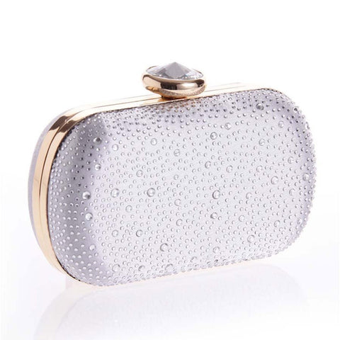 Water Drop Rhinestone Evening Clutch Bag Silver / One Size Bags