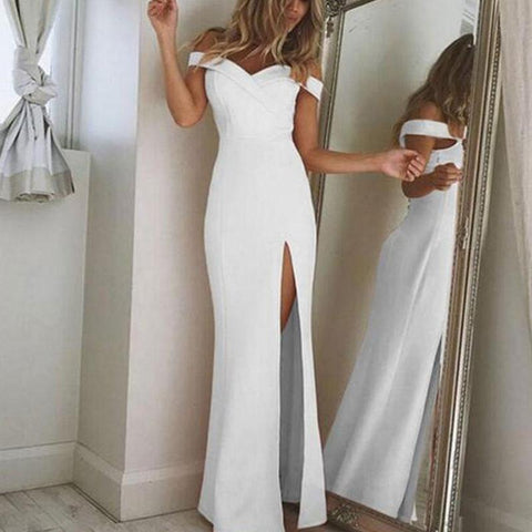 Collarless Slit Plain Evening Dresses White / S Dress