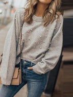 Round Neck Beading Plain Sweaters