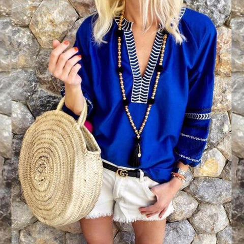 V Neck Patchwork Printed T-Shirts Royal Blue / S Shirts & Blouses