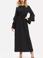 Solid Color Long Sleeve Dress Maxi