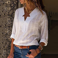 [Free] Sexy V Neck Pure Color Blouses White / S Shirts &