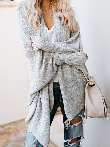 Plain Long Sleeve Cardigans Gray / One Size Sweaters&cardigans