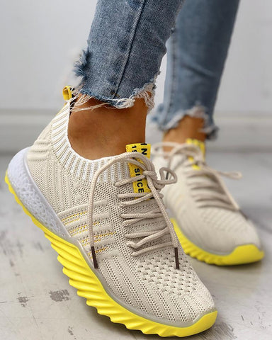 Colorblock Knitted Breathable Lace-Up Yeezy Sneakers Beige / 38