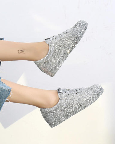 Silver Glitter Lace-Up Sneaker Silver / 35 Sneakers