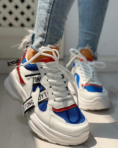 Colorblock Letter Print Lace-Up Platform Sneakers Blue / 36