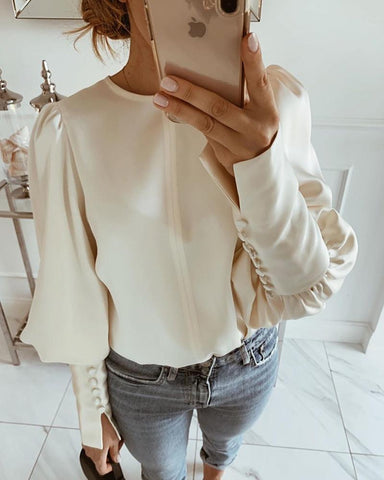 Solid Round Neck Balloon Sleeve Blouse Apricot / S Blouses & Shirts