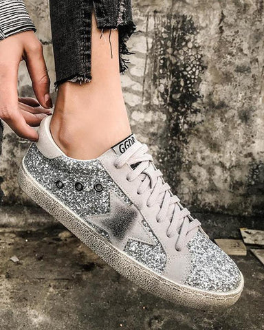 Star Sequin Lace-Up Casual Sneaker Silver / 34 Sneakers