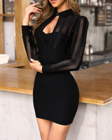 Sheer Mesh & Stripes Keyhole Front Bodycon Dress Black / S Dresses