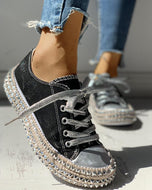 Fashion Rivet Leopard Round Toe Casual Shoes Black / 35 Sneakers