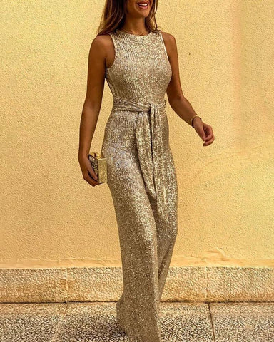 Glitter Round Neck Sleeveless Backless Sequins Jumpsuit Gold / S Jumpsuits
