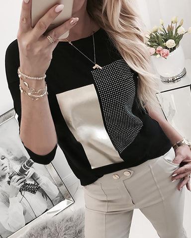 Hot Stamping Colorblock Round Neck Long Sleeve T-Shirt Black / S Famale T-Shirt