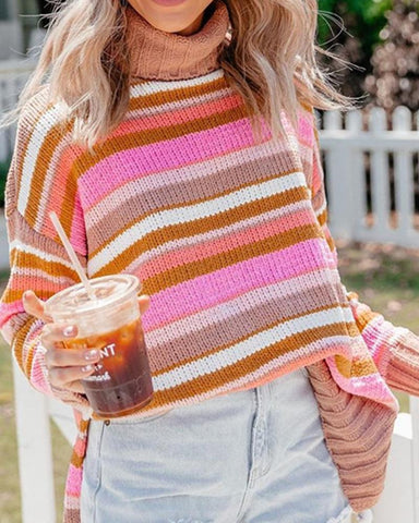 High Neck Knit Sweater With Slits Pink / S Sweaters & Cardigans