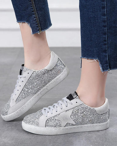 Diamond Embellished Lace Up Sneaker Silver / 34 Sneakers