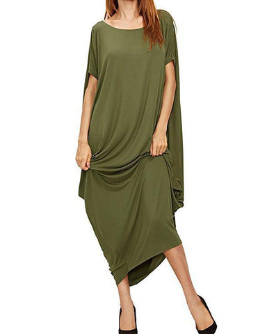 Black Short Sleeve Crew Neck Casual Dress Green / S Dresses