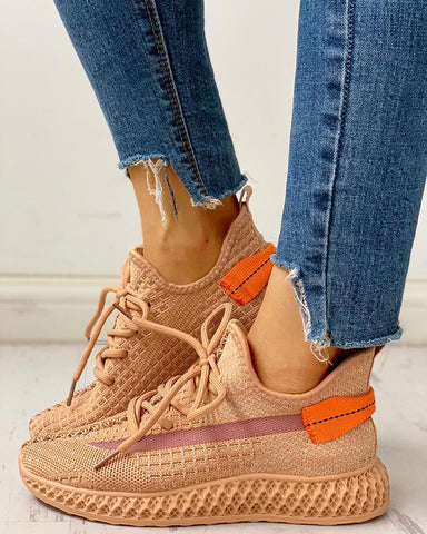 Net Surface Breathable Lace-Up Sneakers Orange / 35