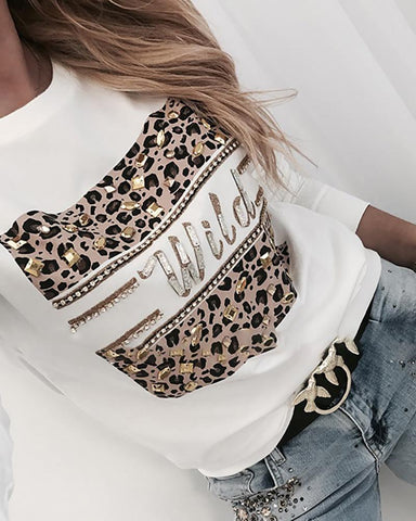 Hot Stamping Leopard Print Round Neck Sweatshirt White / S Sweats & Hoodies