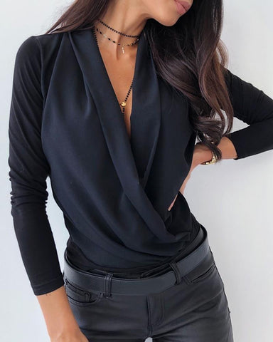 Solid Cowl Neck Long Sleeve Ruched Casual Blouse Black / S Blouses & Shirts