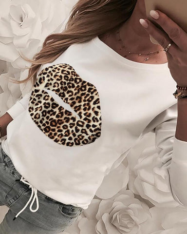 Mouth Pattern Leopard Print Casual Blouse White / S Blouses & Shirts