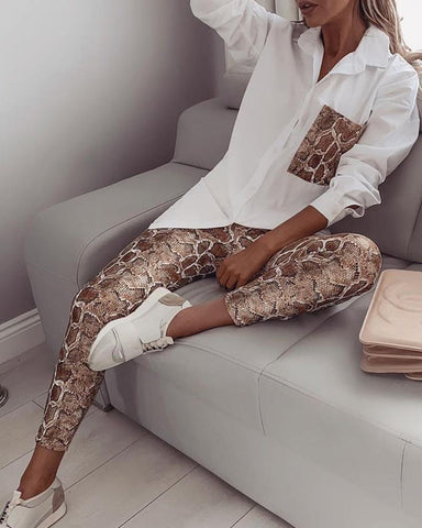 Snake Contrast Pocket Top & Pants Snakeskin / S Suit Sets