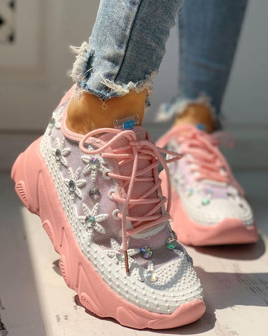 Colorblock Mesh Diamante Trim Lace-Up Sneakers Pink / 35