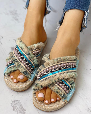 Beaded Tassel Design Casual Sandals