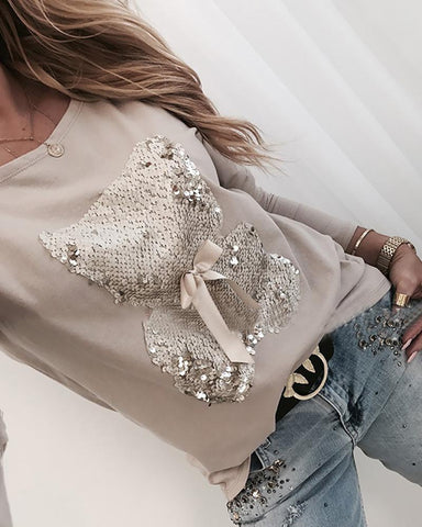 Bear Pattern Sequins Bowknot Round Neck Long Sleeve T-Shirt Apricot / S Famale T-Shirt