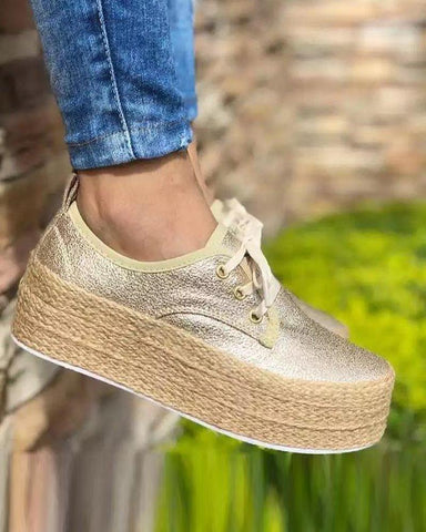 Solid Lace-Up Platform Sneaker Gold / 35 Sneakers