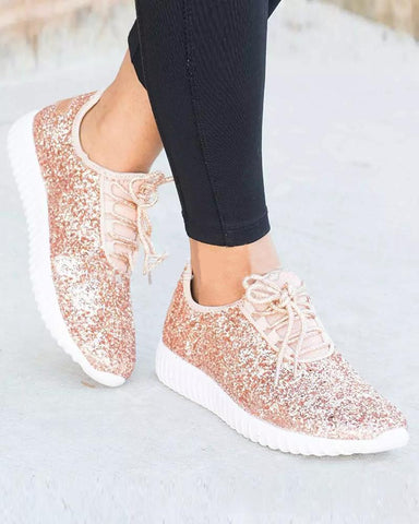 Sequined Flat Lace-Up Casual Sneakers Champagne / 35
