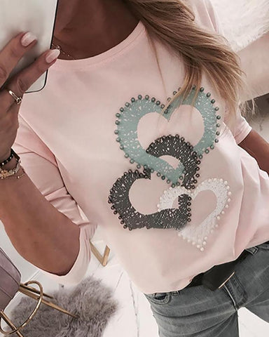 Beaded Heart Print Round Neck Long Sleeve T-Shirt Pink / S Famale T-Shirt