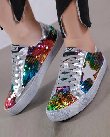 Teenage Dream Sequined Lace-Up Sneaker Silver / 35 Sneakers