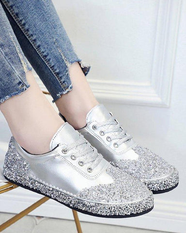 Silver Glitter Lace Up Sneaker Silver / 35 Sneakers