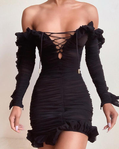 Solid Lace-Up Off Shoulder Ruffles Ruched Dress Black / S Bodycon Dresses