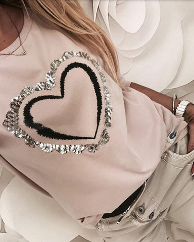 Sequins Heart Pattern Round Neck Long Sleeve Casual Sweatshirt Light Pink / S Sweats & Hoodies