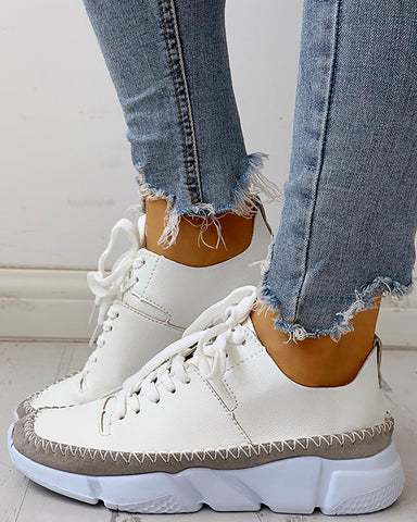 Contrast Stitch Lace-Up Muffin Sneakers White / 35