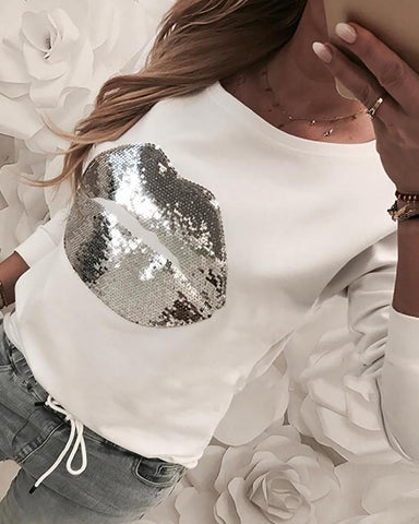 Sequins Lips Design Casual Sweatshirt White / S Sweats & Hoodies