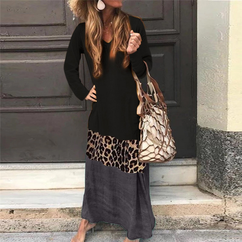 V Neck Long Sleeve Ankle-Length Leopard Print Color Matching Casual Dress Black / Us 0 (Label Size