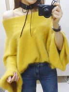 Fashion Pure Colour Off-Shoulder Sweater Yellow / One Size Sweaters