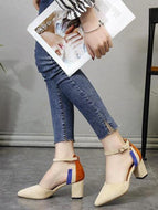 Stylish Color Matching Pointed Pumps Apricot / 34 Heels