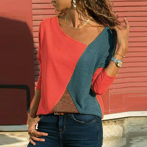 [Free] Asymmetric Neck Patchwork Contrast Stitching T-Shirts Red / S Shirts & Blouses