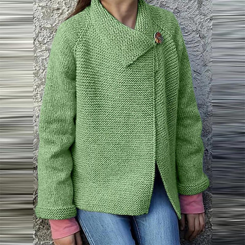 Casual Solid Color Long Sleeve Button Sweater L / Green