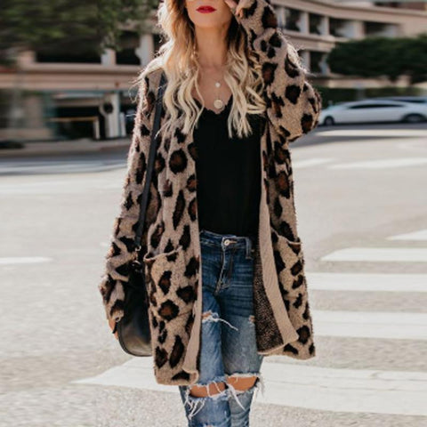 Collarless Flap Pocket Leopard Printed Cardigans Print / S