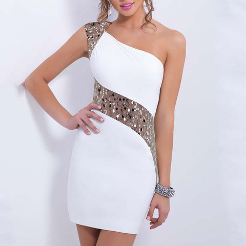 One Shoulder Sequin Mini Bodycon Dress White / S